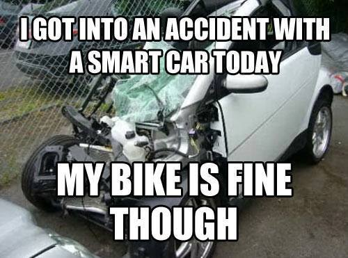 Accident With A Smart Car Funny Pictures Quotes Memes Funny Images Funny Jokes Funny P Os