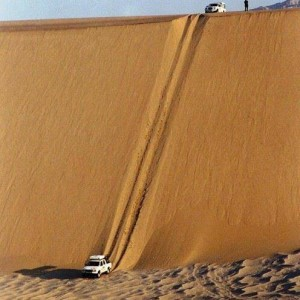 Cars can ride on sand mountains