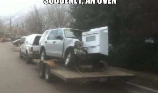Oven falls from skies