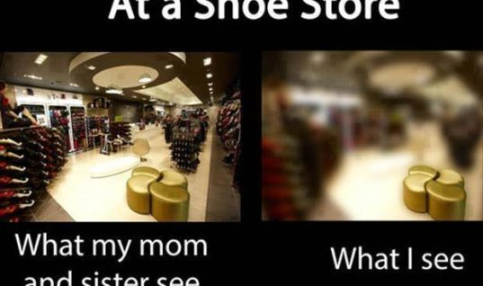 At a shoe store: