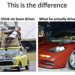Difference of Mr. Bean's car