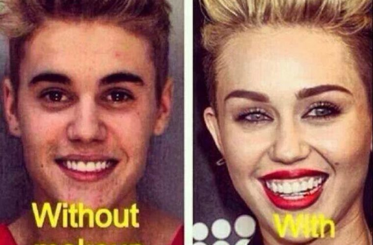 Justin Vs Miley. Justin Vs Miley. Without Makeup: ...