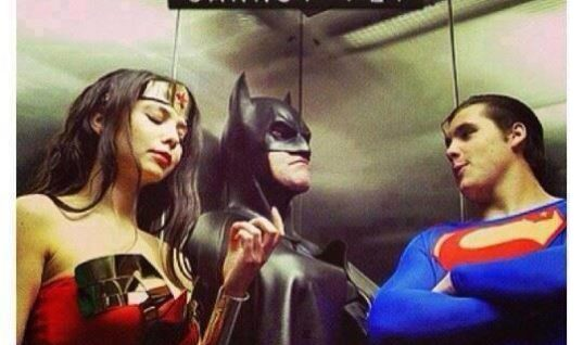 Superheroes in elevator