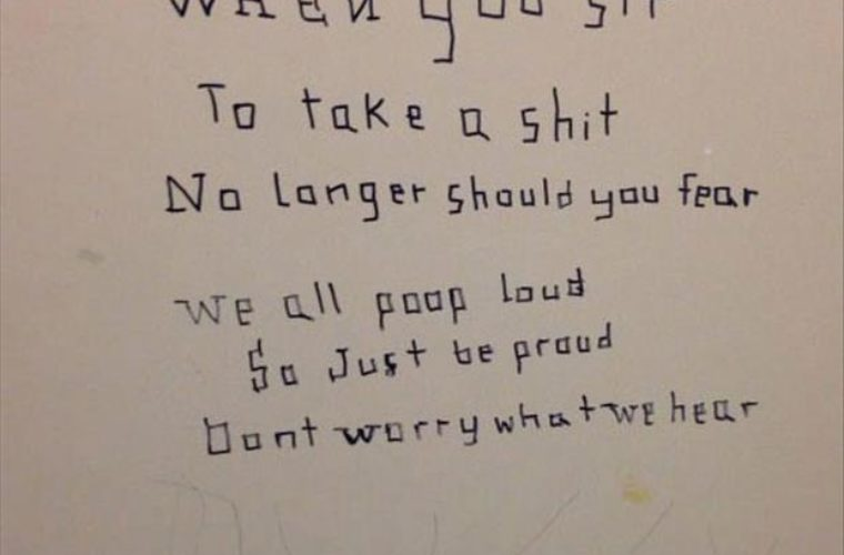 Bathroom poems written on the stall walls