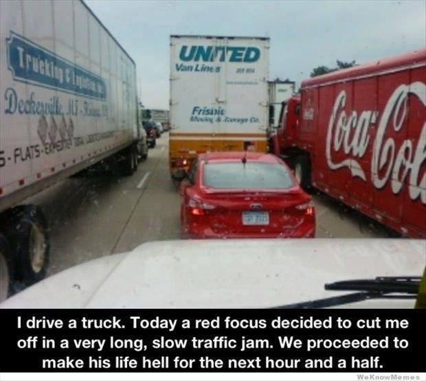 Car Stuck Between Trucks Funny Pictures Quotes Memes Funny