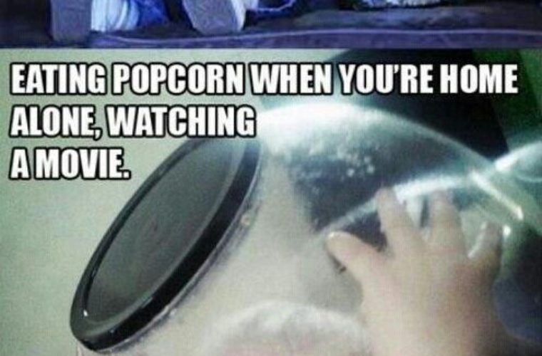 Eating popcorn at a friends house
