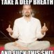 Funny man meditating middle finger