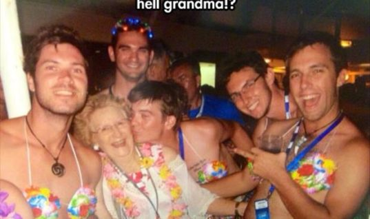 grandma having a good time with young men