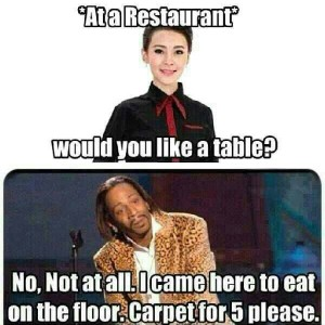 At any restaurant