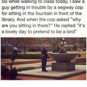 Police guy fountain bird