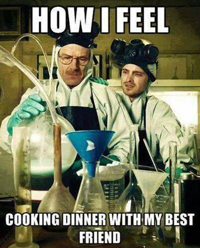 Cooking dinner with best friend