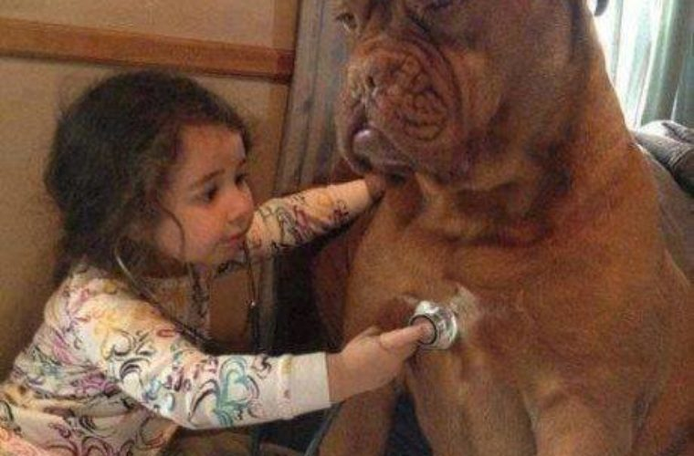 Little Girl and Pet Dog
