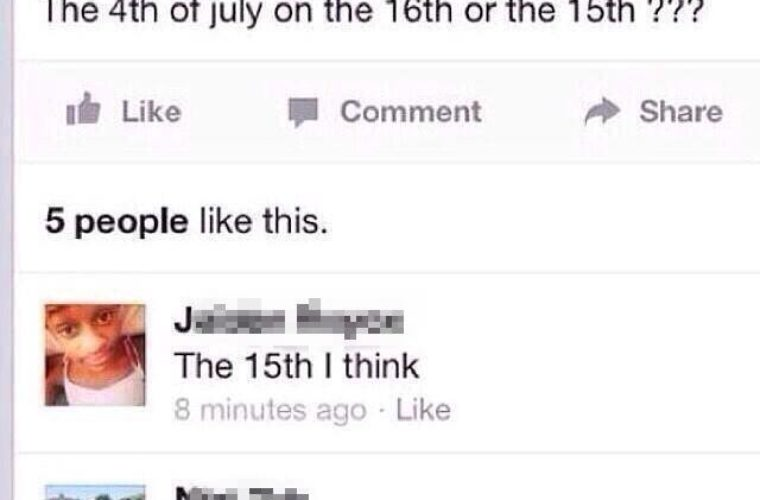 The 4th of July on which date