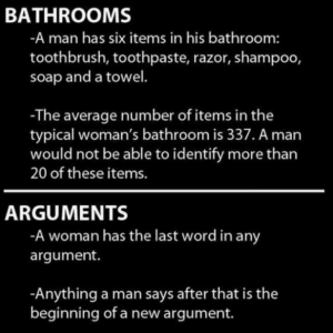 Bathrooms and Arguments