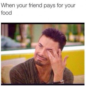 Friends pays for food
