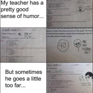Teacher with a good sense of humor