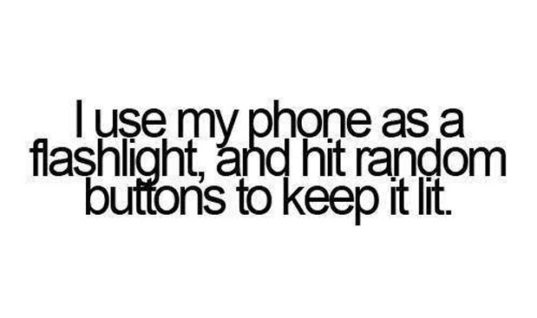 Using phone as flashlight