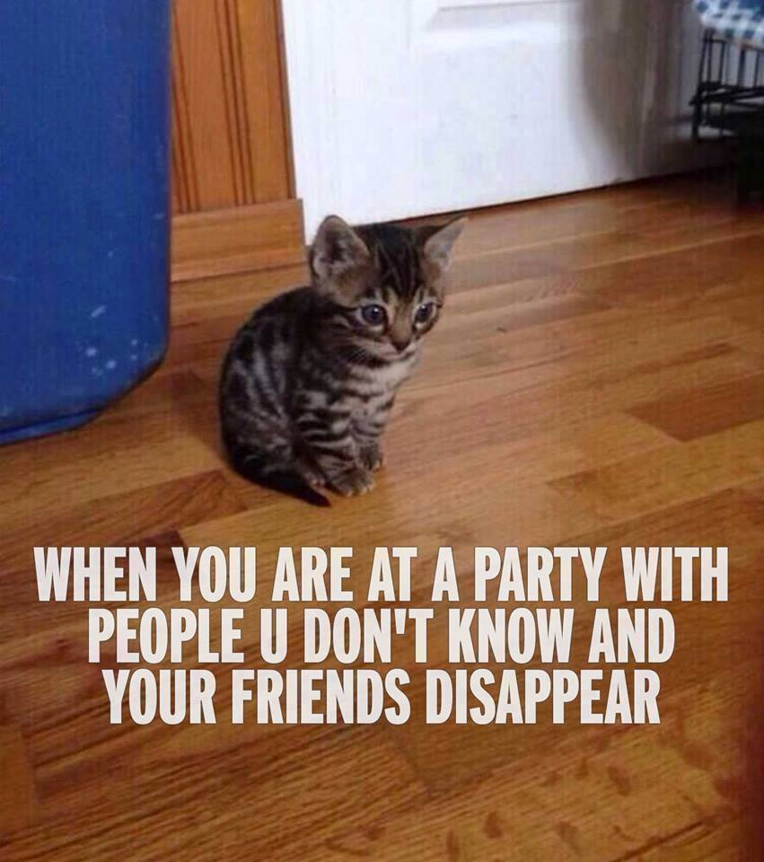 At a party with unknown people
