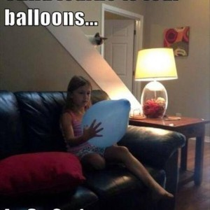 Child learns to fear balloons!..