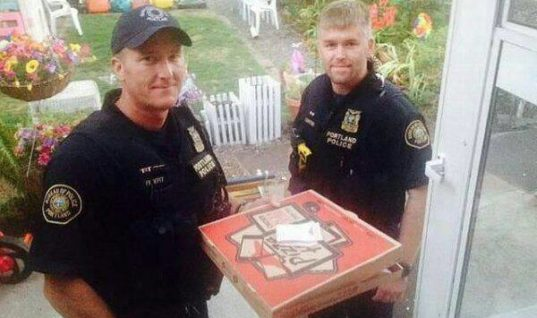 Police deliver Pizza