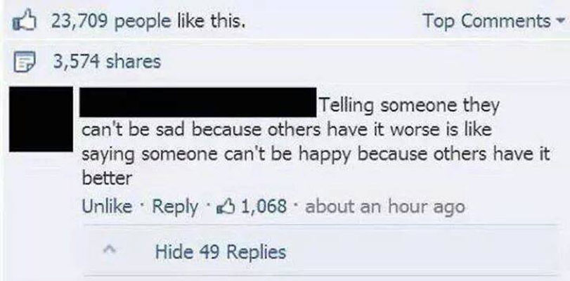 Telling someone they can't be sad