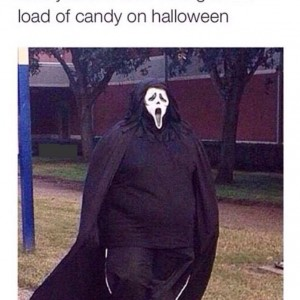 Eating candies on Halloween