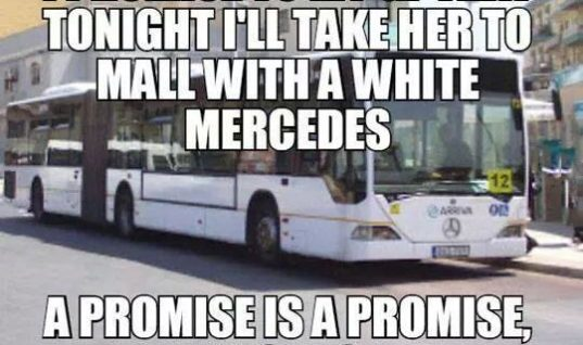 White Mercedes ride for GF