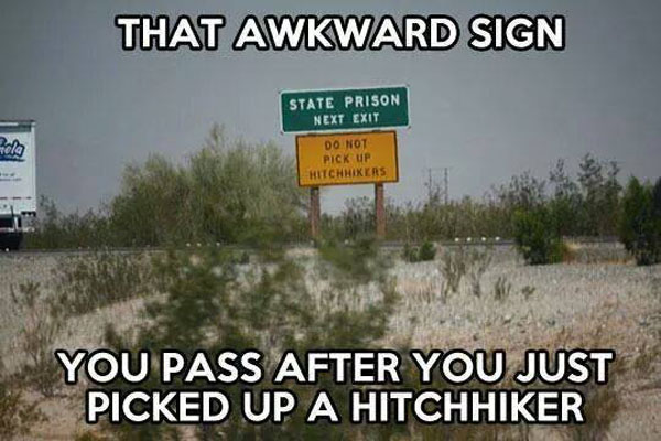 Hitchhiker signs