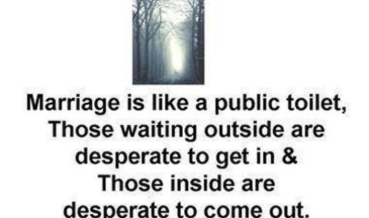 Marriage is like Public Toilet