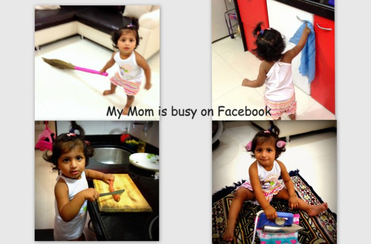 Mom is busy on Facebook