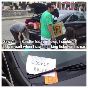 Adam Sandler Parking Ticket