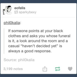 Pointing At Black Clothes