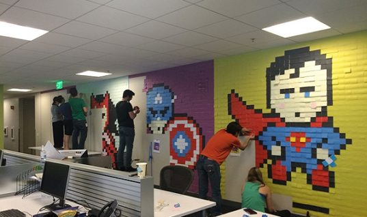 Superhero Murals Made from Post-its