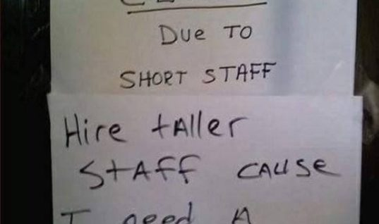 Closed Due To Short Staff