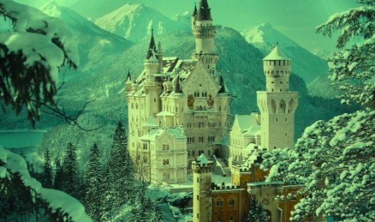 Castle Retreat in the Snowy Mountains in Winter Time