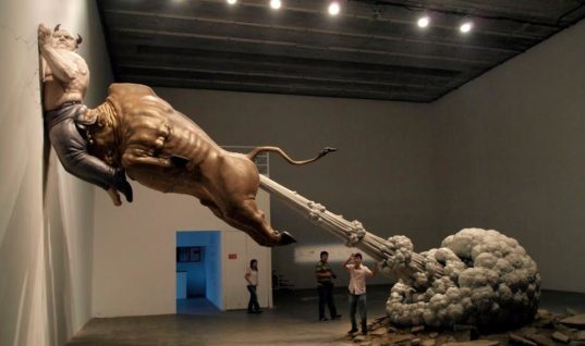 """Emergency exit"" by sculptor Chen Wenling"