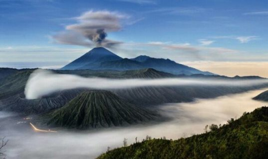 Mount Semeru and Mount Bromo in Indonesia