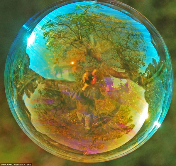 Landscape reflected by a bubble