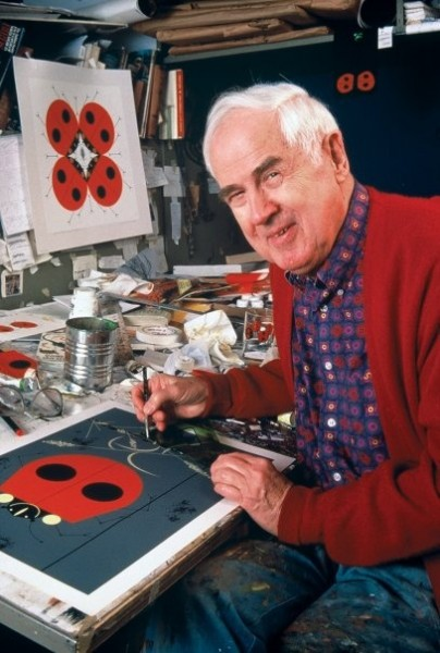 Charley harper, artist, in his studio