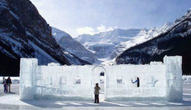 Ice Castle on Lake Louise in Banff National Park