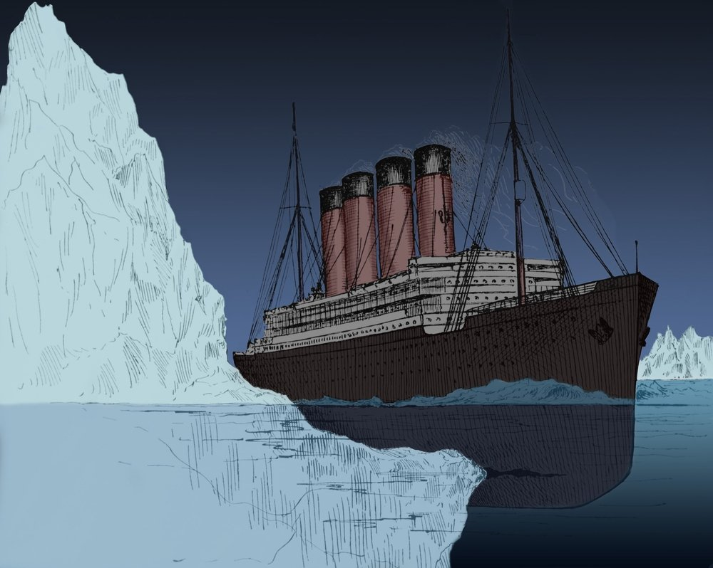 Artistic image of how the titanic crashes with the iceberg