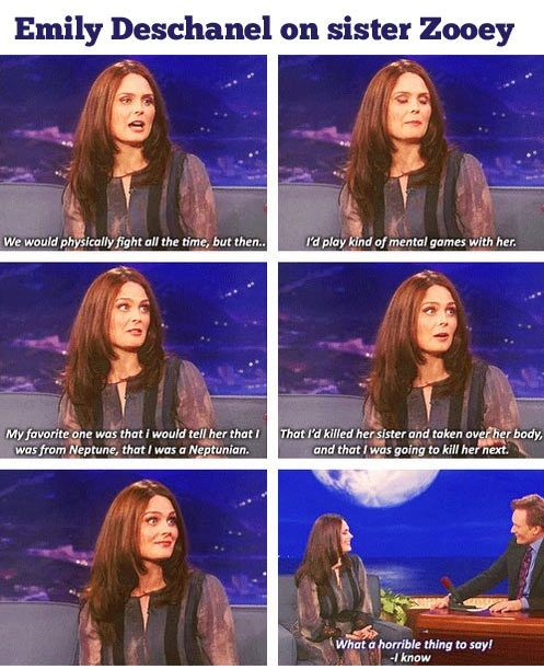 Emily Deschanel On Sister Zooey Funny Pictures Quotes